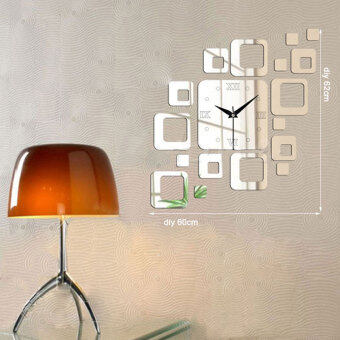 Harga BUYINCOINS Creative Square Mirror Style Wall Clock Removable DecalArt Sticker Home Decor