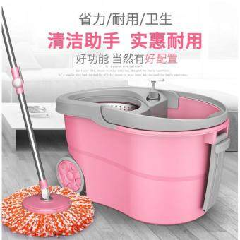 Harga Candy Colour Easy Spin Mop Micro-Fiber Cloth / Floor Cleanerw/Stainless Steel Basket & Wheels Pail