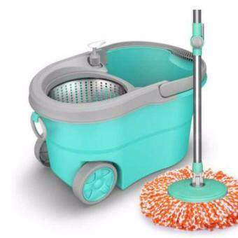 Harga Candy Colour Easy Spin Mop Micro-Fiber Cloth / Floor Cleanerw/Stainless Steel Basket & Wheels Pail (Blue)
