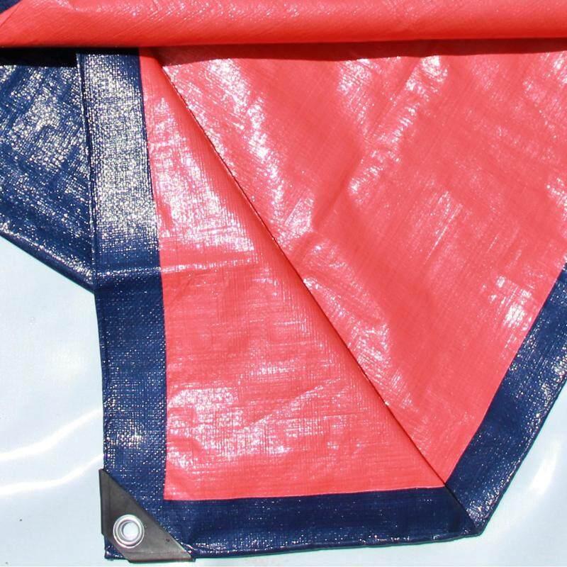 Canvas (Korea) 10  x 15  Ready Made PE Tarpaulin Sheet (Blue Orange) Outdoor Construction Renovation Floor Cover Canopy Tent Side Wall Shield Waterproof UV Protection with Built-in Ropes & Grommets Eyelets Kanvas Biru Oren