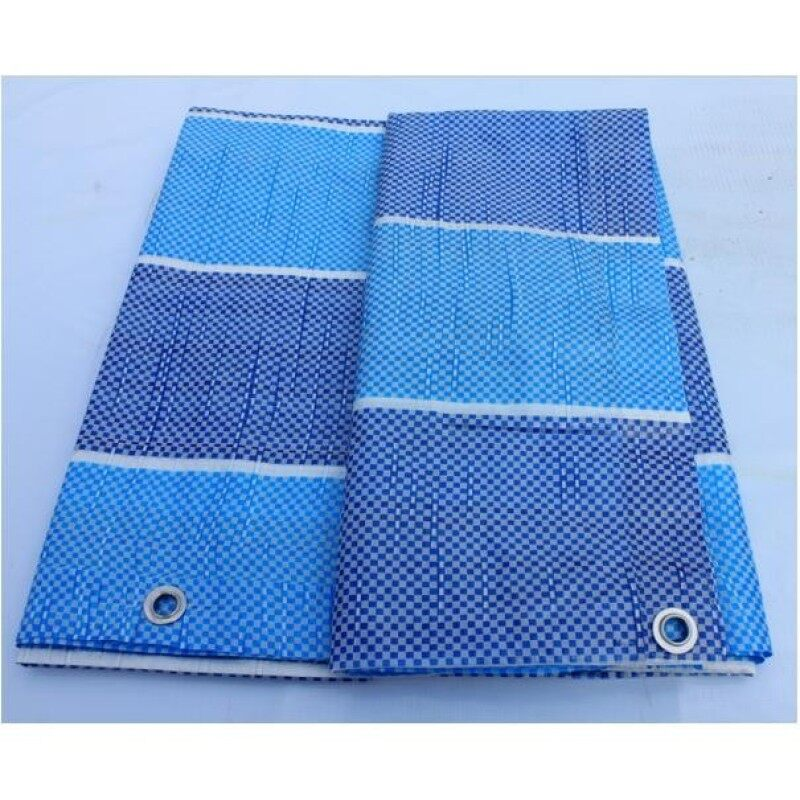Canvas (Korea) 12  x 12  Ready Made PE Tarpaulin Sheet (Blue White) Outdoor Construction Renovation Floor Cover Canopy Tent Side Wall Shield Waterproof UV Protection Camping Hiking Beach with Built-in Ropes & Grommets Eyelets Kanvas Biru Put
