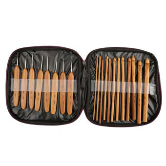 Harga Carbonized Bamboo Crochet Hook Knitting Needles Knit Craft Set