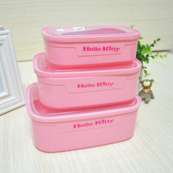 Harga Cartoon cute Hello Kitty lunch box microwave lunch boxes fruit fresh box kimchi box rectangular