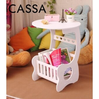 Harga Casa Frenchi Magazine Round End Side Table White