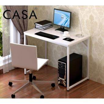 Casa Simple Computer Desk PC Laptop Table Workstation Study Home Office Furniture (white)
