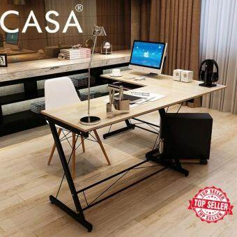 Harga Casa Soreno Corner L shape Desk Maple table top with Black frame