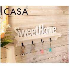 Casa Sweet Home Wall Decorative Clothes Hook Rack Mounted Carved Shelves Key Storage Hanging Holders Kitchen Organizer