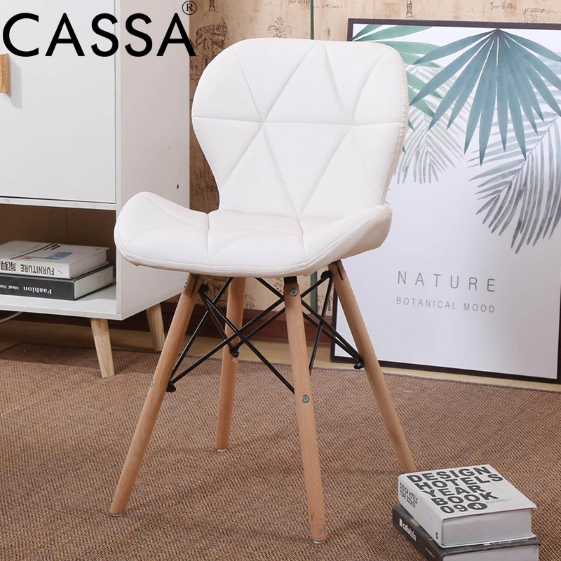 eames chair leather. Cassa Eames Chair White Faux Leather Cushion Seat Natural Wood Legs Malaysia