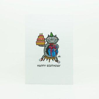 Cat with Gift, Birthday Cards with 1g Pure Silver