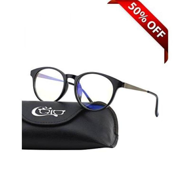 CGID CT28 Premium TR90 Frame Blue Light Blocking Glasses,Anti Glare Fatigue Blocking Headaches Eye Strain,Safety Glasses for Computer/Phone/Tablets,Round Flexible Unbreakable Frame,Transparent Lens