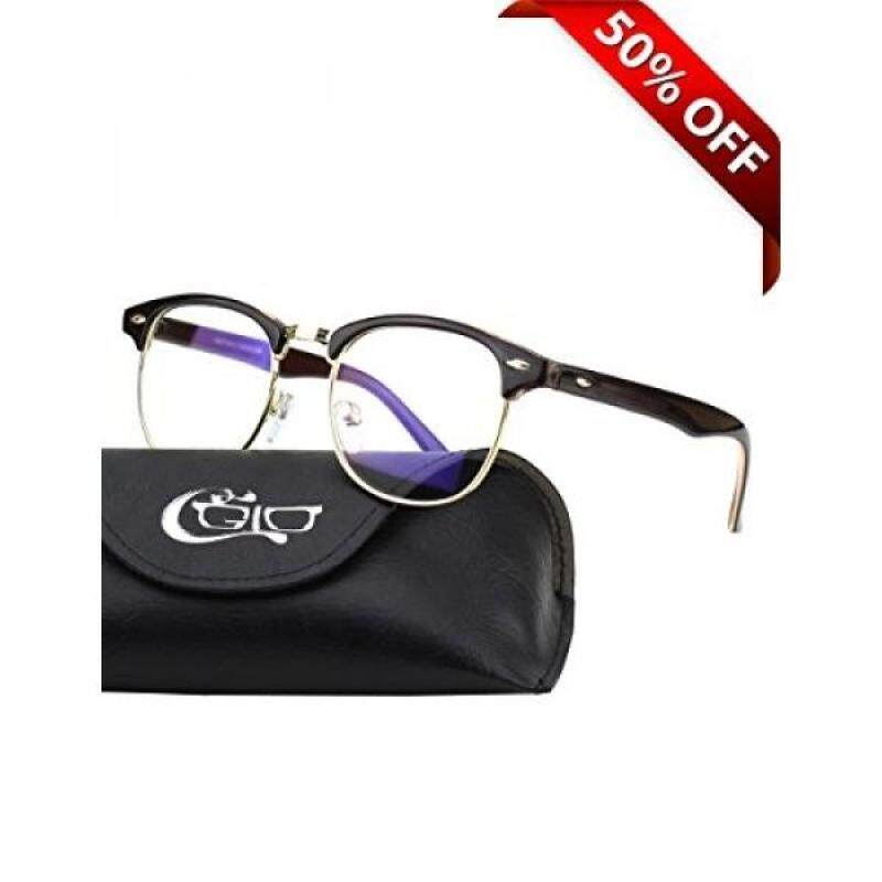 Buy CGID CT56 Horn Rimmed Clubmaster Blue Light Blocking Glasses,Better Sleep,Anti Glare Fatigue Blocking Headaches Eye Strain,Great for Cell Phone Readers,Brown Frame,Transparent Lens Malaysia