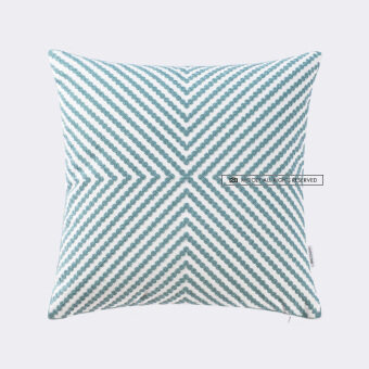 Chinese modern minimalist garden geometric green plaid striped embroidery pillow cover cushion sofa cushions office
