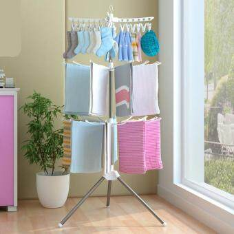 Collapsible Clothes Laundry Hanging Drying Rack Portable 3-Tier(White)