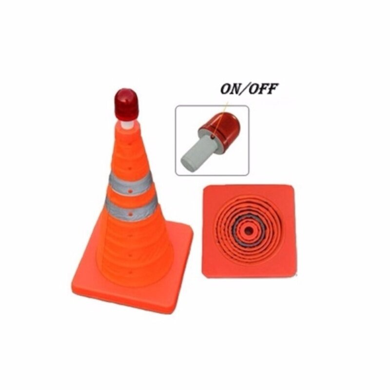 """Buy Collapsible Safety Security Traffic Cone 16""""(H45cm) With Red Warning Light Malaysia"""