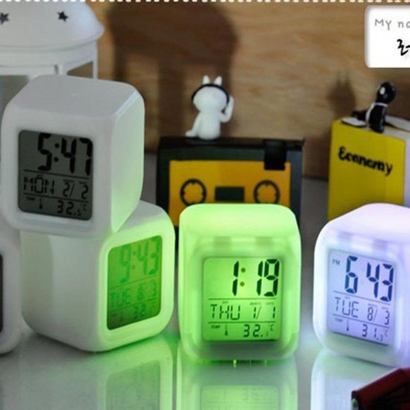 BEAUTIY CITY Colorful Change Color Mood Alarm Clock Birthday Gift LED Luminous Electronic Calendar Temperature Clock - intl