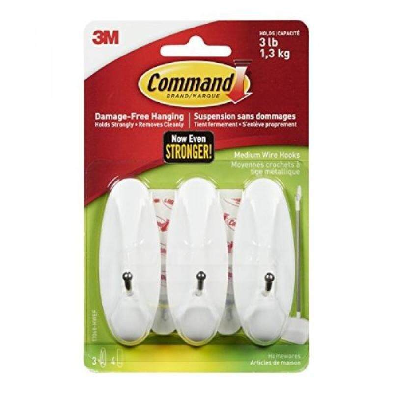 Command Wire Hooks, Medium, White, 3-Hooks (17068-HWES)