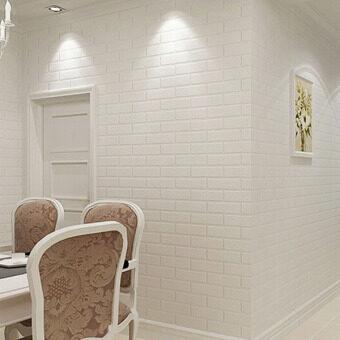 Contemporary Wallpaper Brick Wallpaper White Non woven Wallpaper