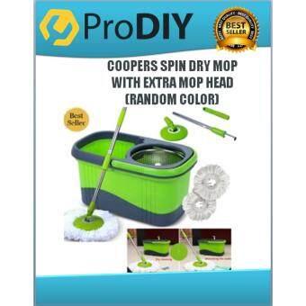 COOPERS SPIN DRY MOP WITH FOC MOP HEAD, FLOOR CLEANER, EASY SPIN MOP S/STEEL BASKET(RANDOM COLOR)