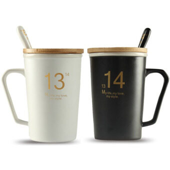 Couple cup one pair of creative Stylish Korean-style for cup suit cup ceramic cup with lid spoon mug cup coffee cup