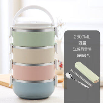 Harga Creative Japanese-style multi-layer stainless steel Insulationboxes 3 layer 2 lunch box points grid adult student children'sdouble lunch boxes