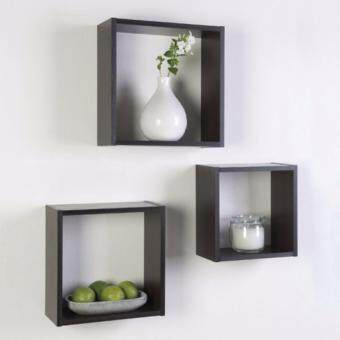 Harga CUBO 3-in-1 Triple Cube Wall Shelf Black