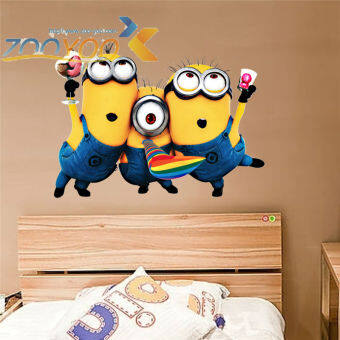 Despicable me 2 cute minions wall stickers for kids roomsdecorative adesivo de parede removable pvc wall decals