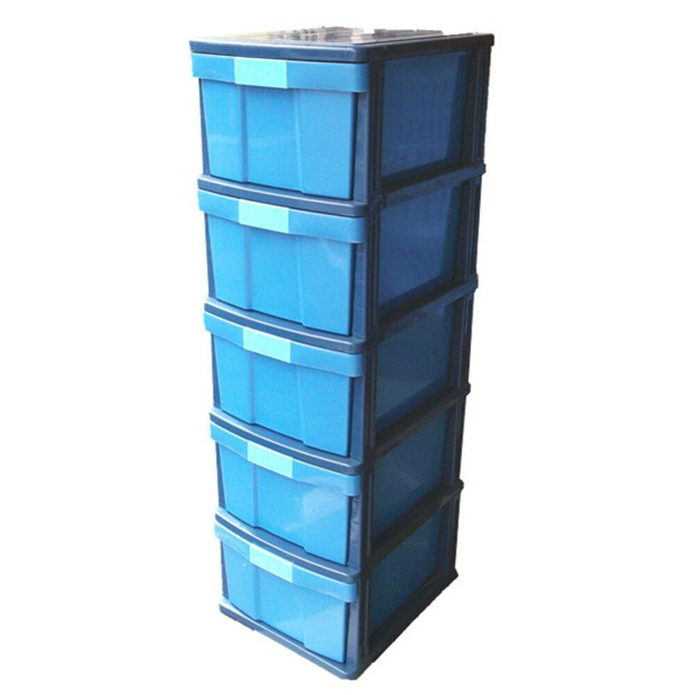 Dhome HA 0905 5 Tier Plastic Storage Drawer (Blue) | Lazada Malaysia