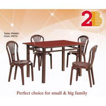 Dining Set 4 Feet Solid Table with 4 Chair 1 + 4 (Walnut)
