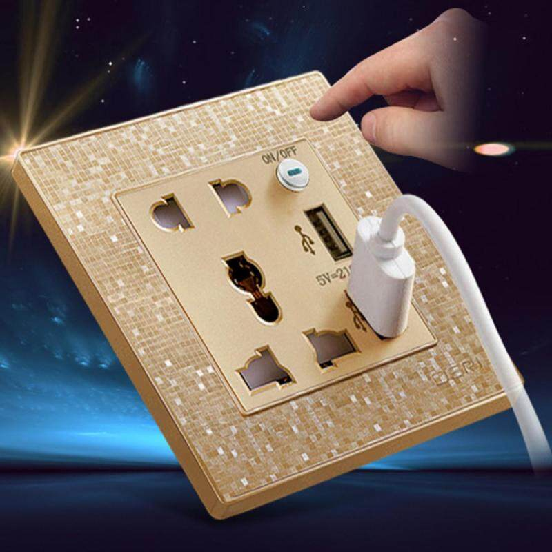 Double Wall 2 US UK Plug Socket with 2 USB Charger Port Outlets Gold Plate 2.4A