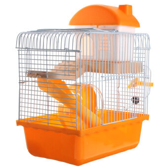 Dwarf Hamster Gerbil Mouse Small Pet Cage 2 Storey Levels Floor Wheel House Orange Random color