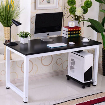 Harga Easy DIY Office Table Wooden Top + Metal Bottom Support 120 x 60 x75cm (Black/White)