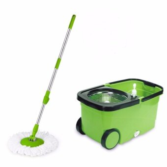 Harga EASY Floor Cleaning Microfiber Cloth Spin Mop w/ Handle & Wheels Pail and Stainless Steel Basket (WYL-25 Green)