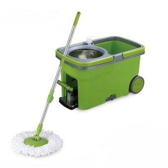 Harga Easy Spin Mop Micro-Fiber Cloth / Floor Cleaner w/ Stainless Steel Basket, Pedal & Wheels (Green)