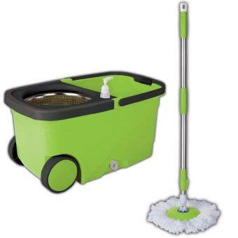 Harga Easy Spin Mop with wheels & stainless steel basket (Green)