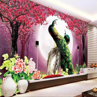 Harga Eco-friendy Custom Eco-friendly 3D wallpaper living room ModernPeacock Moon Flowers Restaurant Hotel Arts Study mural murals-3dwall papers home decor