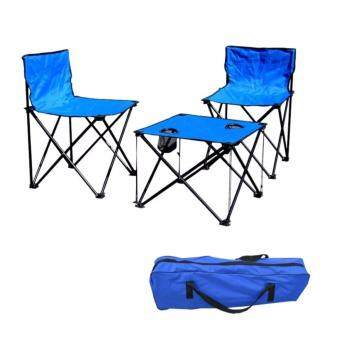 EcoSport Portable Folding Camping Table and Chairs (Blue)