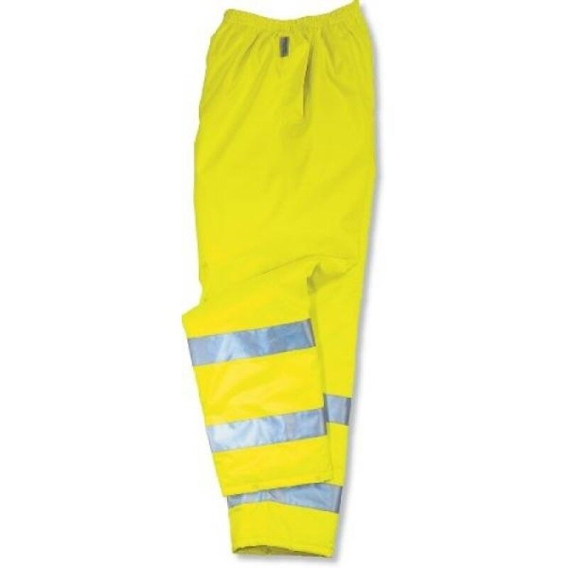 Ergodyne GloWear 8915 ANSI High Visibility Lime Reflective Safety Rain Pants,