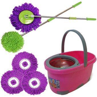 extra panjang magic spin mop 2 stick 1 pail with steel basket 5