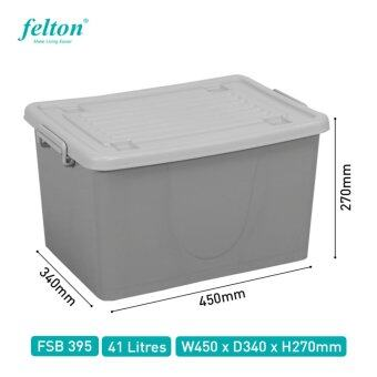 Harga Felton 41L Plastic Storage Box with Lid and Wheels (Grey)