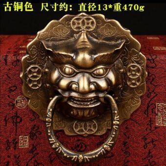 Harga Feng shui court first shop shoutou handle copper copper copper beast lion head door knocker handle chinese door jewelry diameter 13 cm
