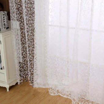 Floral Tulle Voile Door Window Curtain White - 3
