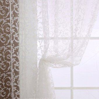 Floral Tulle Voile Door Window Curtain White - 5