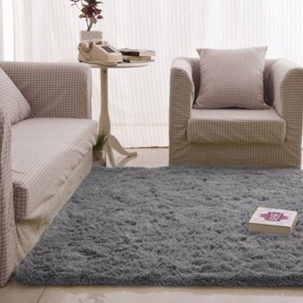 fluffy rugs anti-skid shaggy area rug dining carpet floor mat gray