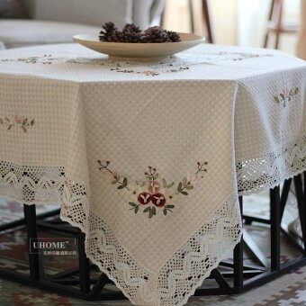 Harga Foreign Trade cotton pastoral handmade ribbon embroideredtablecloth Fabric Table Cloth rectangular coffee table toweltablecloth Square