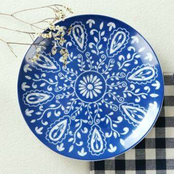 Harga Foreign Trade New style home Blue and White Porcelain Glaze colorceramic plate