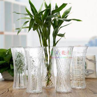 Harga Free Shipping modern minimalist transparent glass vase lucky bamboovase hydroponic glass ornaments simulation flower Flower flower
