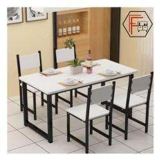 Furniture Farm Agustn 120cm Contemporary Black Steel Round Edged Rectangular Design Dining Table ONLY