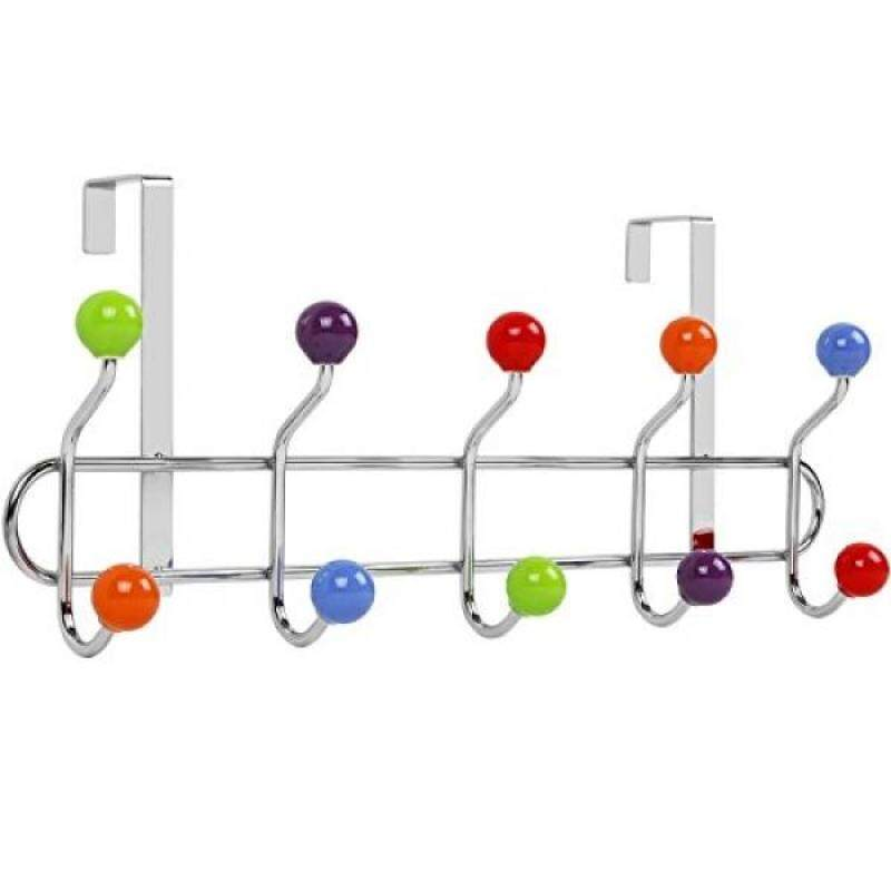 Galashield Over The Door Hook Rack 5 Multi color Ceramic Knobbed Hooks and Stainless Steel Organizer Rack (10 Hanging Hooks)
