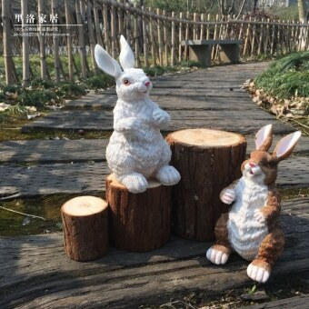 Gardening garden simulation rabbit furnishings resin crafts