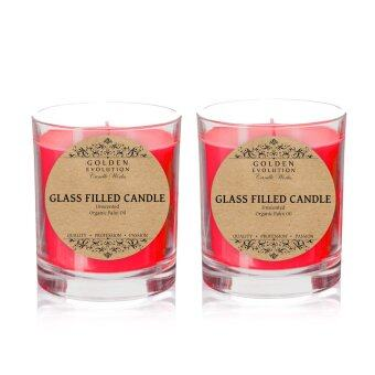 Harga GE Candle Works [Set of 2] Unscented Glass Filled Candle 2oz (Red)